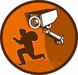 Security surveillance camera burglar thief running