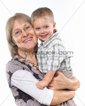 Happy grandmother with grandson vertical view