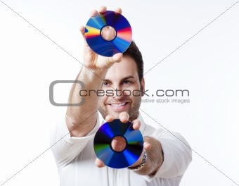 man in shirt standing smiling holding CD - isolated on white