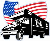 Camper van with american flag stars and stripes