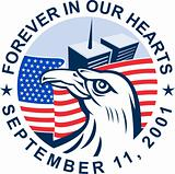 9/11 memorial american eagle flag twin towers