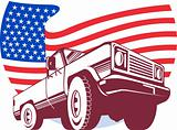 American Pickup truck with flag stars and stripes