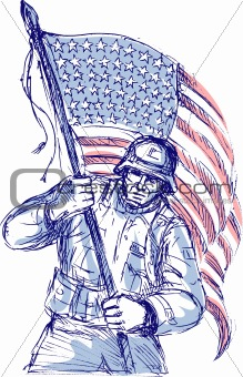 American soldier carrying flag