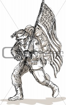 American soldier with rifle flag