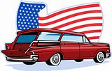 1950&#39;s styled station wagon with american flag