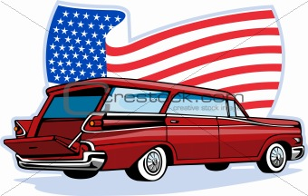 1950's styled station wagon with american flag