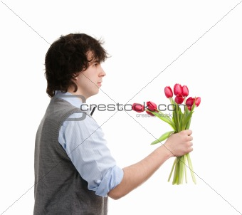 Boy with bouquet
