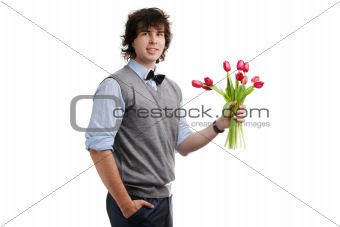 Boy with red flowers