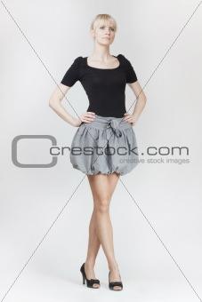 beautiful blond woman in mimi skirt