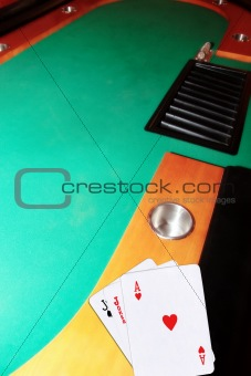 casino blackjack table ace of hearts