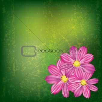 abstract grunge illustration with red flowers