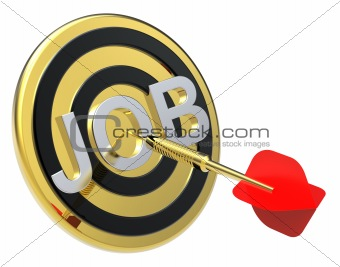 Red dart on a gold target with text on it. Concept for job recruitment or career.