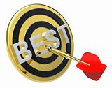 Red dart on a gold target with text on it. The concept of the best reviews and best choice.