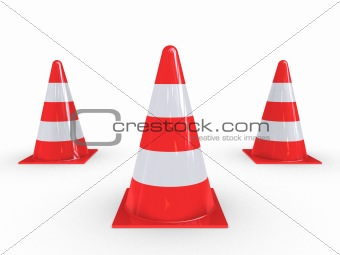 Three Traffic Pylons