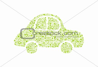 go green eco pattern on car silhouette