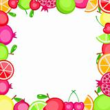 colorful vector fruits frame