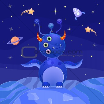 Blue Alien Standing on Planet in Open Space