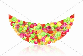 watermelon silhouette filled with fruits