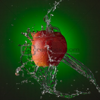Water Splashing on Apple