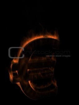 Money Euro symbol in fire