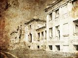 Old Palace ruins in Odessa. Photo in old image style.