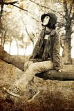 Fashion girl at park