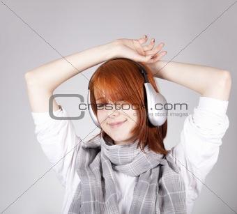 Girl with modern headphones.