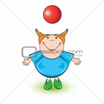 Little girl and red ball