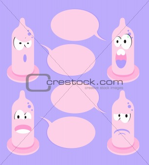 4 funny cartoon condom talking bubble speech