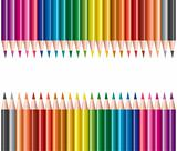 colored pencils in rows