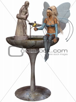 a fairy at the fountain