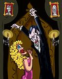 Cartoon Vampire menacing a blonde woman