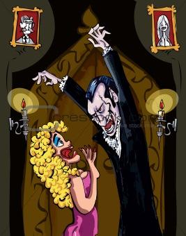 Cartoon Vampire menacing a blonde woman