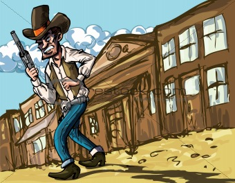 Cartoon cowboy with sixguns