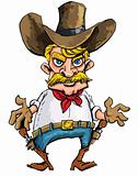 Cartoon cowboy with sixguns on his gun belt
