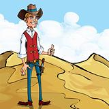 Cartoon cowboy giving a thumbs up gesture