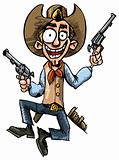 Cartoon cowboy jumping up and down with six guns