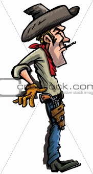 Cartoon cowboy ready to draw his guns