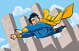 Cartoon superman flying with his cape billowing behind