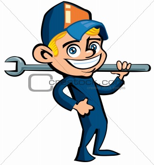 Cute Cartoon plumber holding a tool