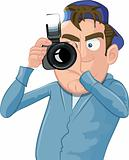 Cartoon paparazzi with a camera