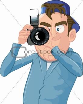 Cartoon paparazzi with a camera
