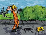 Cartoon of labourer using a pick axe
