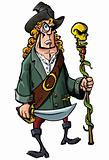 Cartoon pirate with a sword and staff