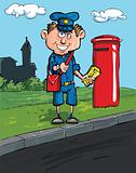 Cartoon postman by a mailbox