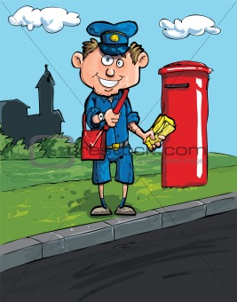 Cartoon postman by a mailbox