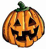 Cartoon of smiling halloween carved pumpkin