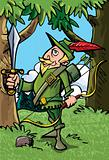 Cartoon Robin Hood in the woods