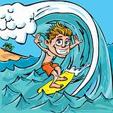 Cartoon boy surfing
