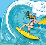 Cartoon girl in a bikini surfing